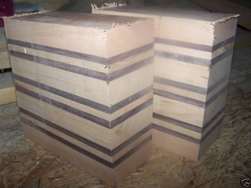 Two (2) Cherry / Walnut Laminated Bowl Blanks Lumber Wood 6 X 6 X 3