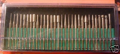 30 Jewelers diamond drill bits stone glass metal rotary tools tips 600 fine grit