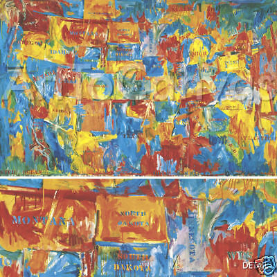 "64""x40"" MAP by JASPER JOHNS USA UNITED STATES AMERICA CANVAS"