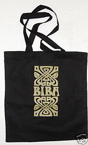 RETRO-BIBA-OF-KENSINGTON-LOGO-SHOPPING-ECO-TOTE-BAG-100-BLACK-COTTON-GOLD-PRINT