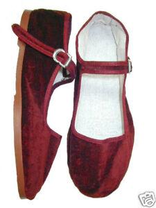 Red-Burgundy-Velvet-MaryJane-China-Flat-Shoes-Goth-NEW