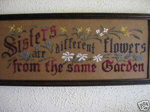 Antique-Motto-Sampler-kit-Sisters-are-different-flowers