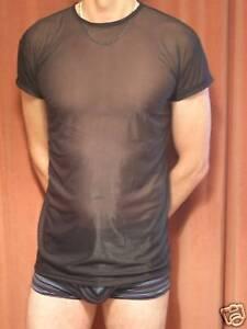 Sexy-sheer-semi-see-through-stretchy-T-shirt-BLACK