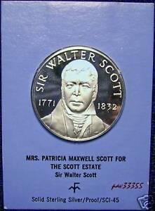 Franklin-Mint-Sir-Walter-Scott-1771-1832-Silver-Medal