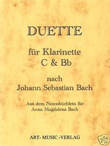 NOTEN-DUETTE-C-amp-Bb-KLARINETTE-NACH-J-S-BACH