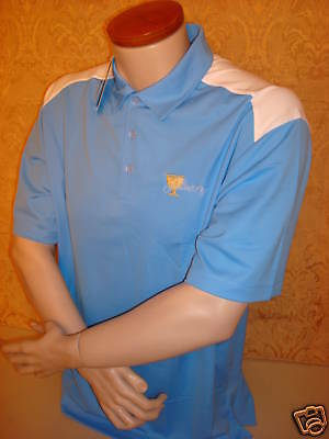 Presidents Cup Nike Mens Dri Fit Dry Polo Golf Shirt Xl Blue W/white