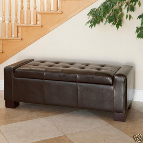Elegant Contemporary Design Brown Leather Storage Ottoman Bench W/ Tufted  Top