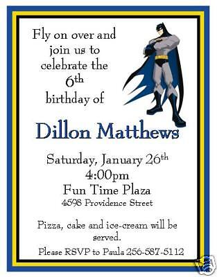 10 Batman Custom Invitations ~ ~ NEW (Custom Batman Invitations)