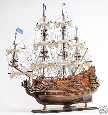 "Soleil Royal Tall Ship Wooden Model 28"" French Warship Built Boat New"