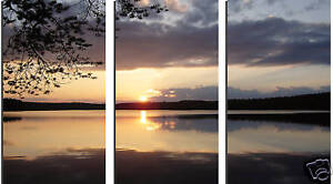 THREE PIECE SPLIT CANVAS LAKE LANDSCAPE BOX CANVAS