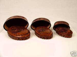 New-Boxes-Set-of-Three-Hand-Tooled-Leather-3-in-1-Oval