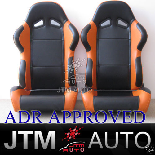 JTM PAIR BLACK ORANGE RACING SPORT SEATS ADR APPROVAL