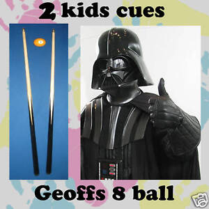 PAIR-of-Black-36-034-1-Piece-KIDS-or-Short-Pool-Cues-may-madness