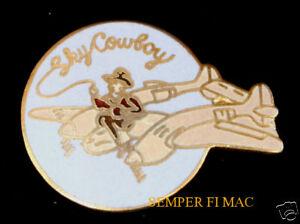 SKY-COWBOY-NOSE-ART-P-38-LIGHTING-WW2-HAT-PIN-UP-WOW