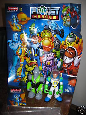 Fisher Price Planet Heroes Ace Earth Lunar Moon Action Figures Discontinued NEW