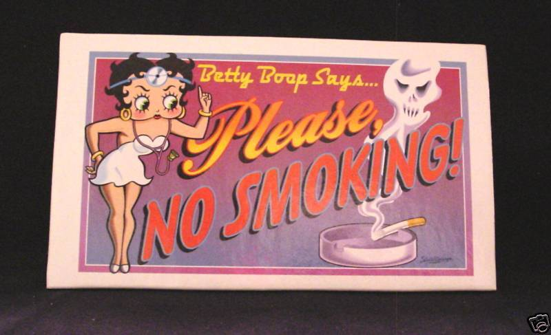 """BETTY BOOP PLEASE NO SMOKINGSIGN POSTCARD 3.5"""" x 6"""" Color Sturdy THICK Cardboard"""