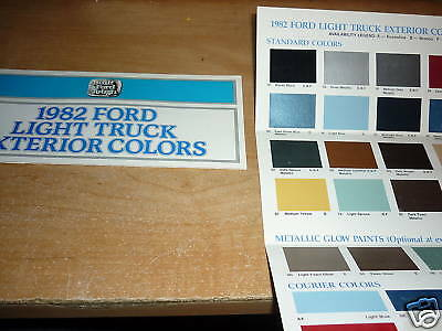 1982 Ford Bronco F100 F150 F250 Color Chart Brochure