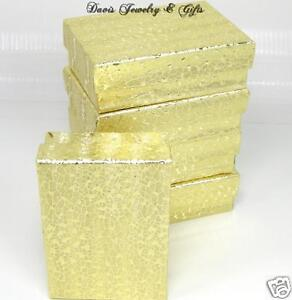 New-Boxes-Wholesale-LOT-of-10-Jewelry-Gift-Gold-Foil-Cotton-Filled-Re-seller