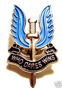 SAS ENAMEL PIN 'WHO DARES WINS' official blue enamel metal air force beret badge