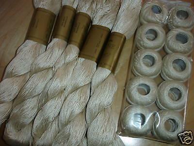 5x Stickgarn, Perlgarn Stärke 3 - Farbe  beige je 50 Gramm (nur 1,00€/Stück)