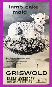 Griswold-Easter-Spring-Lamb-Mold-Cast-Iron-Cake-Original-Instructions