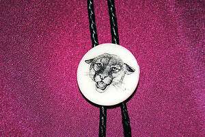 Cougar / Puma - Wildlife - Etched Cultured Montana Marble Bolo / Bola Tie