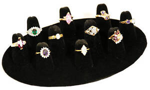 1-10-FINGER-RING-DISPLAY-JEWELRY-VELVET-BLACK-RINGS-NEW