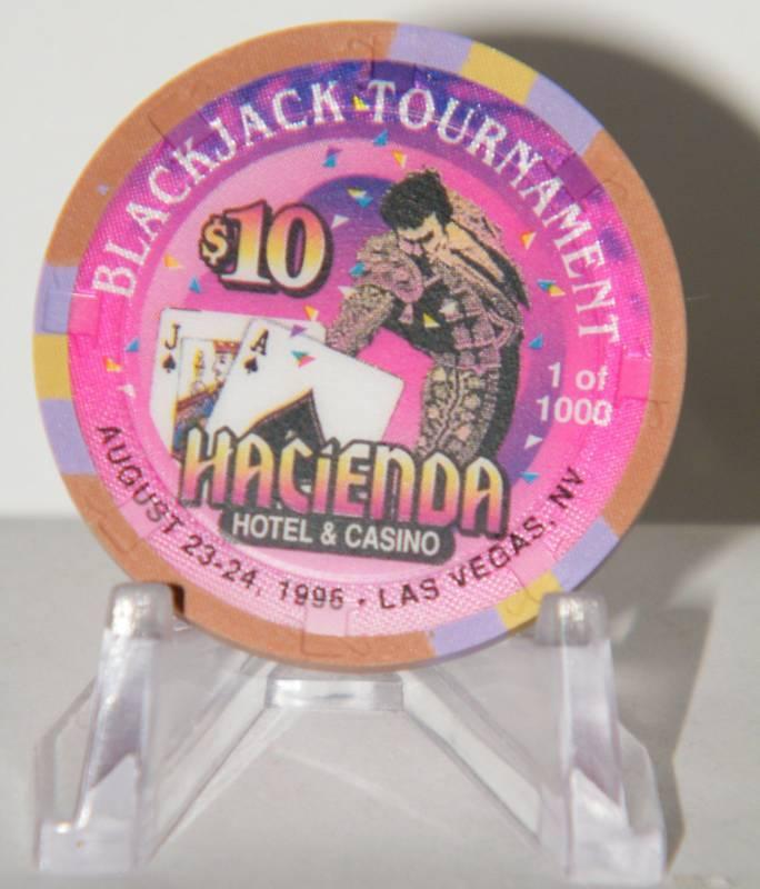HACIENDA Casino CHIP $10 BLACKJACK TOURNAMENT LAS VEGAS 1956 -1996 1000 OBS NEW!
