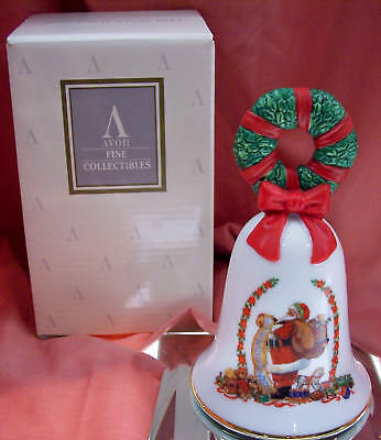 Avon PORCELAIN BELL Santa w/List 1995 HOLIDAY NIB * FREE SHIP