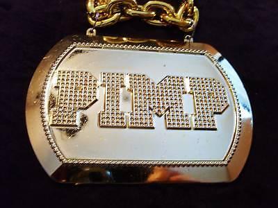 Shiny golden Pimp Plaque Chain Mardi Gras Necklace Bead Bling Gag Prop (b168)