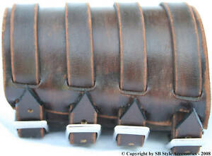 WRISTBAND-leather-bracelet-cuff-4-straps-WORN-BROWN