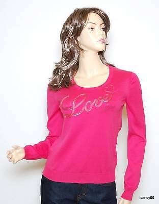 $300 Love Moschino Italy Cotton Sequin Crew Neck Sweater Pullover Pink 10