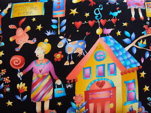 Grandmas-House-Black-Background-Cotton-Quilting-Fabric-Fat-Quarter-50-x-55cm