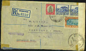 SOUTH AFRICA 1941 DUAL LANGUAGE CENSORED REGISTERED