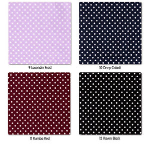 COTTON-100-CLOTHES-DRESS-FABRIC-CUTE-TINY-2MM-WHITE-POLKA-DOT-12-COLORS-44-034-WIDE