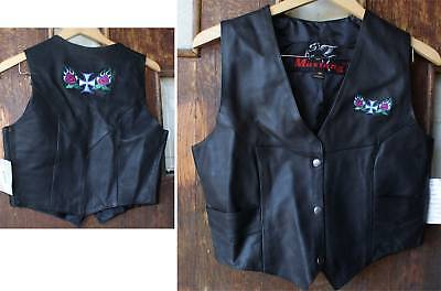Womens Leather Vest Iron Cross Roses Embroidery Biker