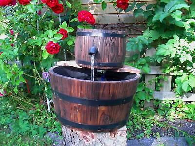 HOLZ FASS GARTENBRUNNEN Zierbrunnen - Brunnen 6Watt NEU