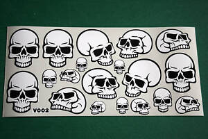 SHEET-OF-19-SCULL-STICKERS-BMX-CAR-MOTORBIKE-SCOOTER-V002-ALL-MODELS