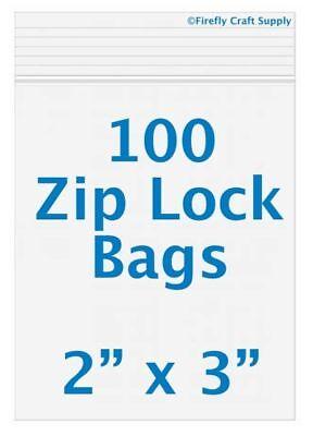100 Ziplock 2 x 3 2mil ziploc plastic/poly jewelry bags