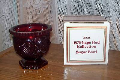 Avon 1876 Cape Cod Collection Ruby Glass Sugar Bowl Dish NIB