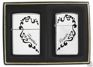 Zippo-034-Together-Forever-034-2-Piece-Set-Lighters-His-amp-Hers-Chrome-0465