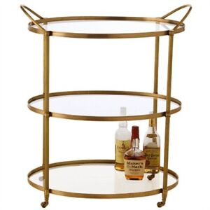 Brass amp glass oval bar cart with wheels mid century modern hollywood