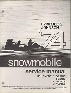1974 SERVICE EVINRUDE JOHNSON SNOWMOBILE 35 HP SERVICE 1974 MANUAL d86ea5