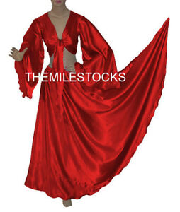 TMS-Red-Satin-Skirt-Top-BellyDance-TRIBAL-Gypsy-25Color