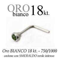 Piercing Da Naso Nose Oro Bianco 18kt.con Smeraldo Verde Intenso White Gold -  - ebay.it