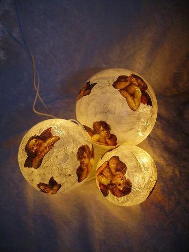 Leuchtende Dekokugeln In Natur (krakeliert) Mit Engeln