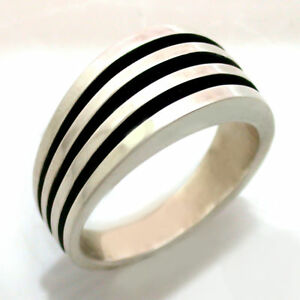 Mens-Solid-Sterling-Silver-Antiqued-Ring