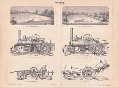 Dampfpflug Pflug Kultivator Lokomotive HOLZSTICH von 1889 Balancierpflug