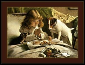 English Print Picture Jack Russell Terrier Dog Cat & Little Girl Pray Art