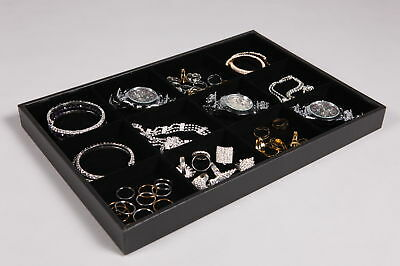 NEW JEWELLERY SHOP DISPLAY BOX TRAY BLACK 12 SECTION COMPARTMENTS RETAIL STORAGE
